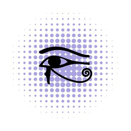 ojo de horus: Ojo de Horus en icono de estilo cómic sobre un fondo blanco