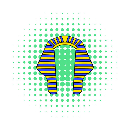 tutankhamen: Headdress of Pharaoh icon in comics style on a white background
