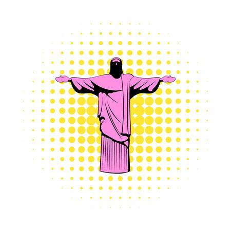 cristo: Rio de janeiro christ icon in comics style isolated on white background