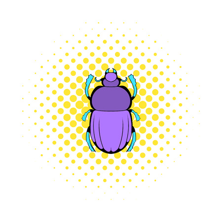 scarab: Scarab icon in comics style on a white background Illustration