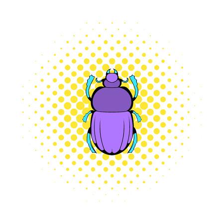 entomology: Scarab icon in comics style on a white background Illustration
