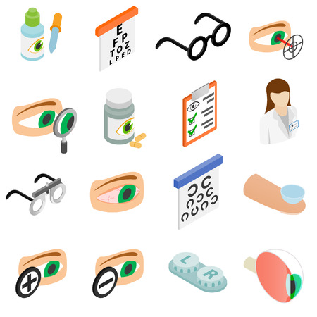 eye exams: Vision correction icons set in isometric 3d style isolated on white background Illustration