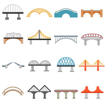 viaduct: Bridge icons set in flat style isolated on white background