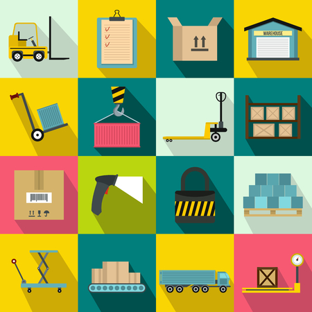 Warehouse logistic storage icons set in flat style for any design Ilustrace