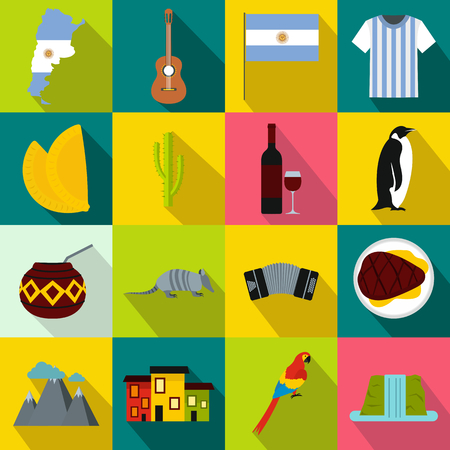 Argentina set icons in flat style for any design