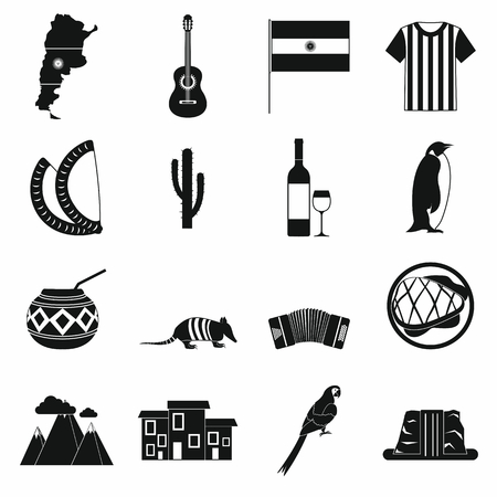 gaucho: Argentina set icons in simple style for any design