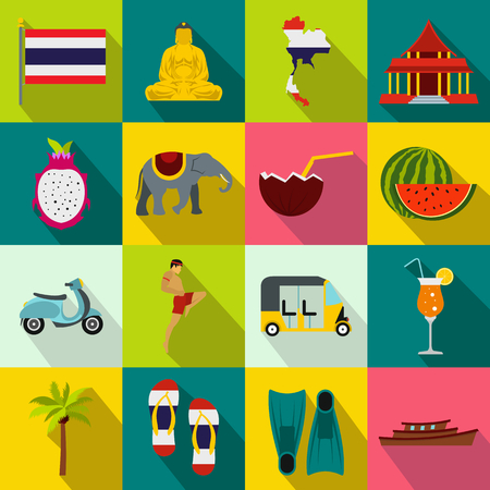 thai dance: Thailand icons set in flat style for any design
