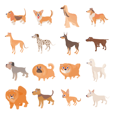 setter: Dog icons set in cartoon style on a white background