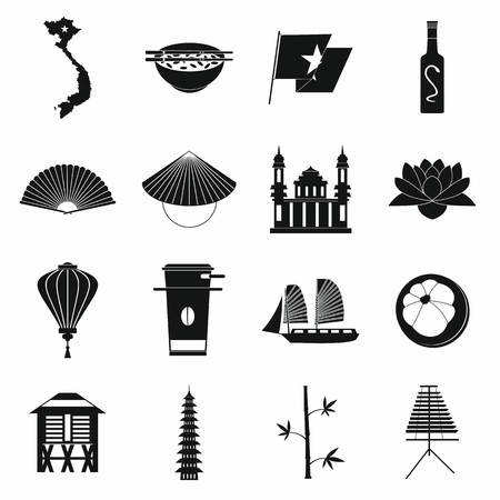 Vietnam icons set in simple style for any design Vektorové ilustrace