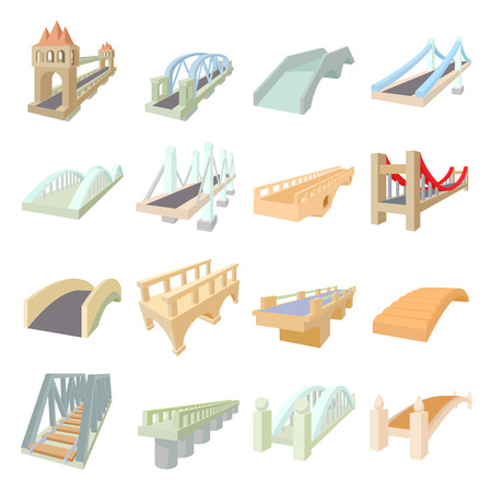 viaduct: Bridge set icons in cartoon style isolated on white background Illustration