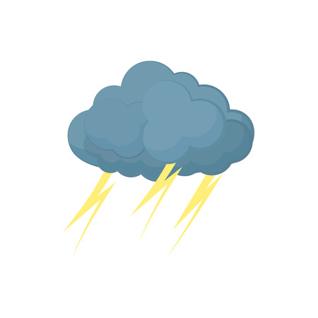 Cloud with lightnings icon in cartoon style on a white background