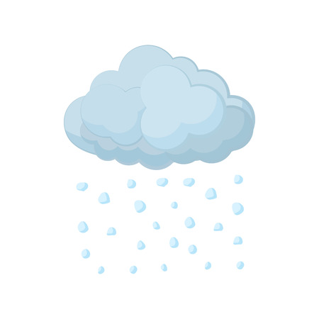 hailstorm: Cloud and hail icon in cartoon style on a white background