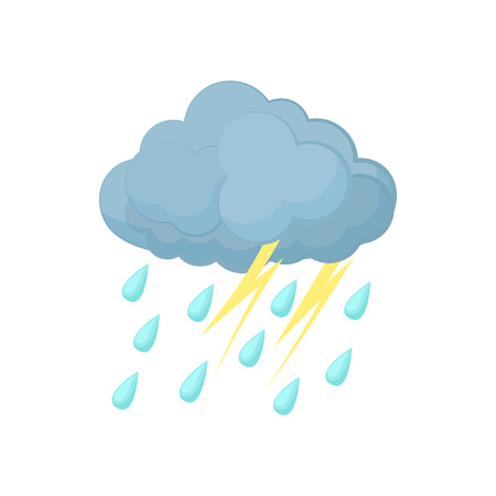 Thunderstorm cloud icon in cartoon style on a white background Stock Illustratie