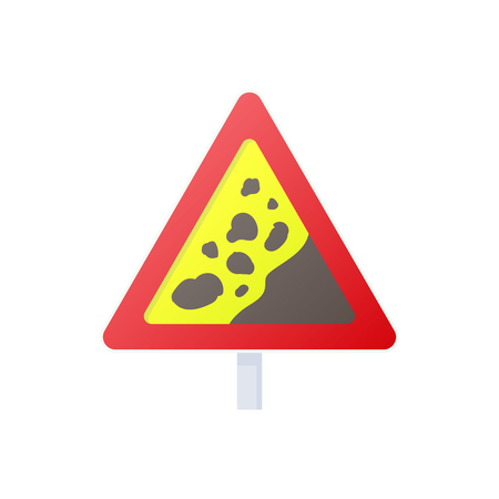 landslide: Falling rocks warning traffic sign icon in cartoon style on a white background Illustration