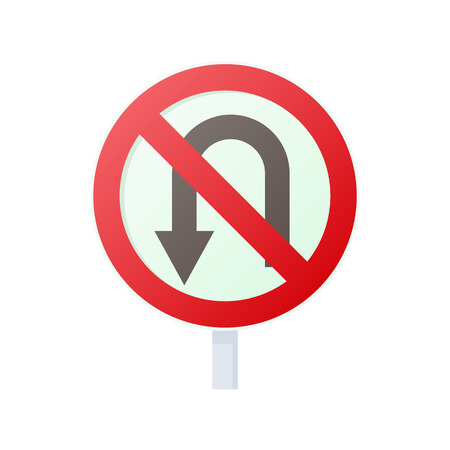 disallow: No U turn road sign icon in cartoon style on a white background Illustration