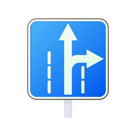 two lane highway: Warning traffic sign drive straight or right icon in cartoon style on a white background Illustration