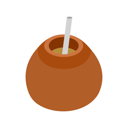 mate infusion: Chimarrao for mate or terere icon in isometric 3d style on a white background
