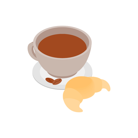 baked beans: Coffee cup with a croissant icon in isometric 3d style on a white background Illustration
