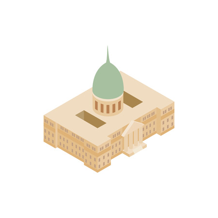 congress: Argentine National Congress Palace icon in isometric 3d style on a white background