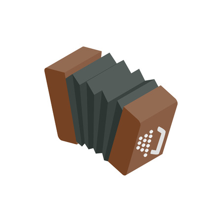 concertina: Bandoneon accordion icon in isometric 3d style on a white background