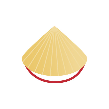 Conical straw hat icon in isometric 3d style on a white background Ilustração Vetorial