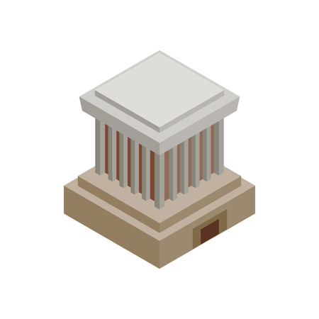 mausoleum: Ho Chi Minh Mausoleum icon in isometric 3d style on a white background Illustration