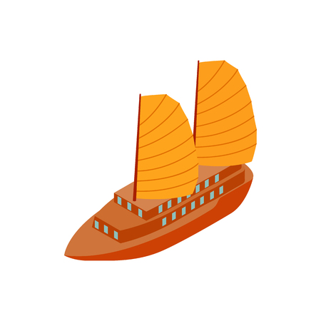 Junk boat icon in isometric 3d style on a white background