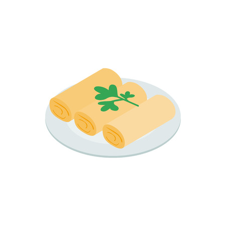 spring roll: Spring rolls icon in isometric 3d style on a white background