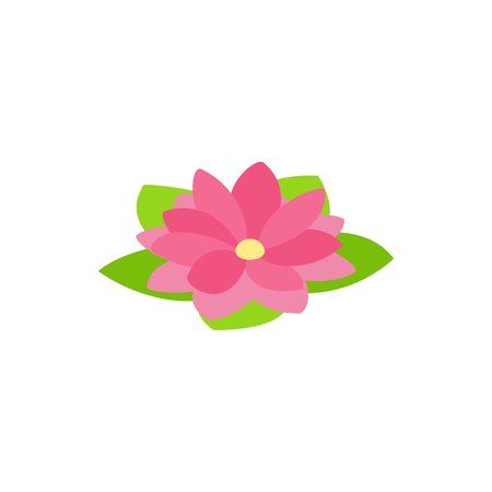 3d om: Lotus flower icon in isometric 3d style on a white background
