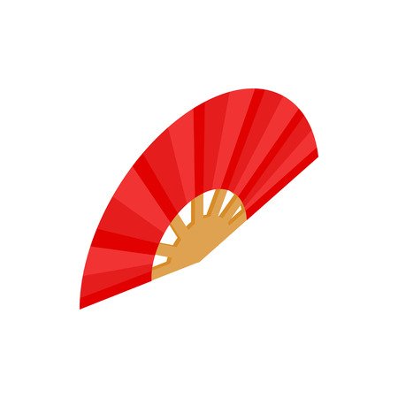 red fan: Red open hand fan icon in isometric 3d style on a white background Illustration