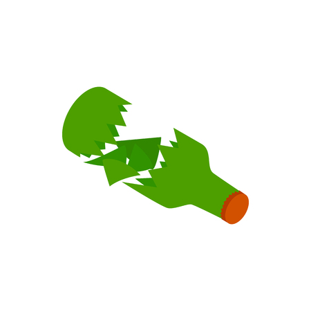 tumble down: Broken green bottle icon in isometric 3d style on a white background Illustration