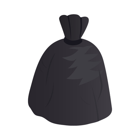 garbage bag: Garbage bag icon in isometric 3d style on a white background