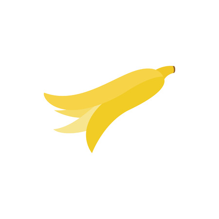 peel: Banana peel icon in isometric 3d style on a white background