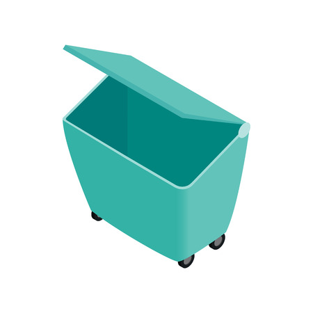 segregate: Green garbage container icon in isometric 3d style on a white background Illustration