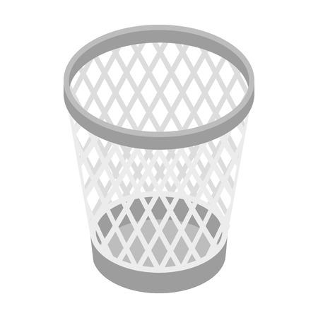 cesto basura: Malla icono de la papelera en estilo isométrica 3d sobre un fondo blanco Vectores
