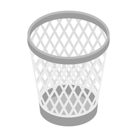 cesto basura: Mesh trash basket icon in isometric 3d style on a white background Vectores