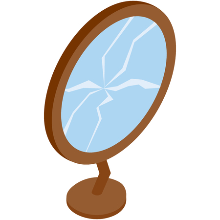 trashed: Broken mirror icon in isometric 3d style on a white background