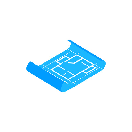 draftsman: Building plan icon in isometric 3d style on a white background