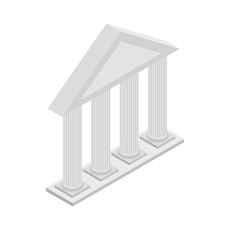 3d temple: Greek Temple with columns icon in isometric 3d style on a white background
