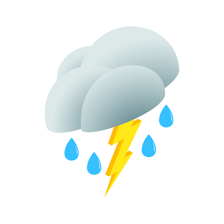 3d lightning: White cloud with lightning icon in isometric 3d style on a white background