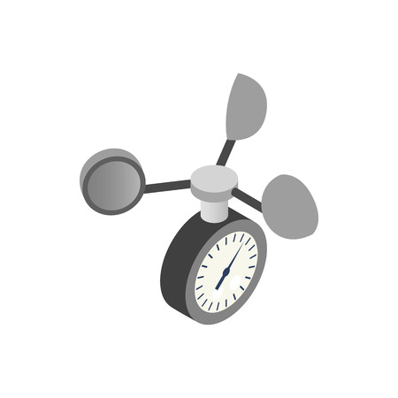 Anemometer icon in isometric 3d style on a white background