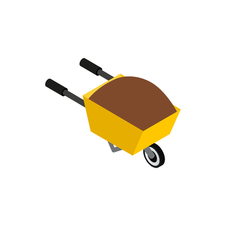 protective glove: Wheelbarrow icon in isometric 3d style on a white background