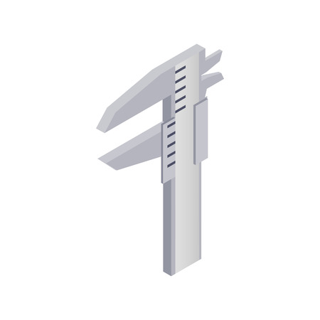 millimetre: Calipers icon in isometric 3d style on a white background Illustration