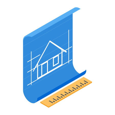 Architectural project icon in isometric 3d style on a white background Çizim