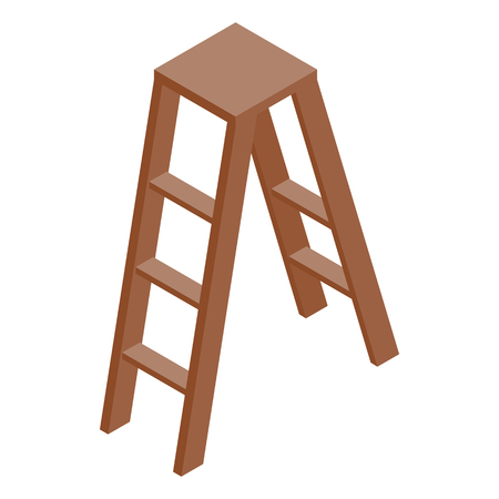 stepladder: Stepladder icon in isometric 3d style on a white background Illustration