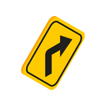 turn yellow: Turn right yellow traffic sign icon in isometric 3d style on a white background Illustration