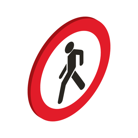 No pedestrian sign icon in isometric 3d style on a white background Illustration