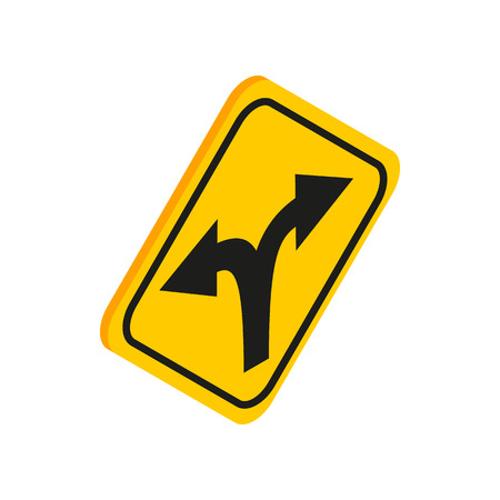 bifurcation: Fork in the road sign icon in isometric 3d style on a white background