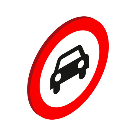 forbid: Sign with car icon in isometric 3d style on a white background Illustration