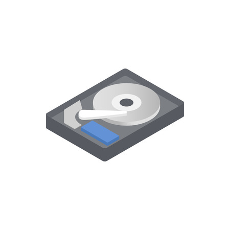 diskdrive: HDD icon in isometric 3d style on a white background Illustration